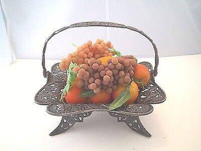 OUTSTANDING AESTHETIC ORIENTAL HEAVY SQUARE BASKET PAIRPOINT BIRDS PIERCED