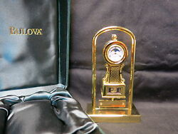 Bulova Mini Wall Clock B0531 BRASS W/ Stand NIB Working/Moon Dial #1