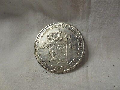 Pièce en argent  de 2 1/2 Gulden Wilhelmina Koningin  Der Nederlander 1943