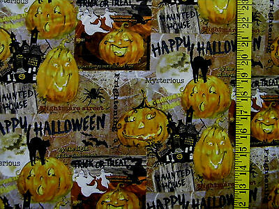 JACK O LANTERN GHOST CAT HALLOWEEN  PATCH 100% COTTON FABRIC  BY THE 1/2 YARD