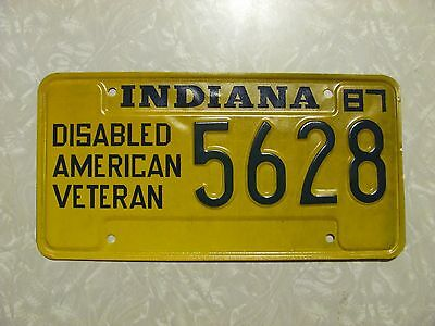1986 INDIANA LICENSE PLATE original paint FREE SHIPPING DISABLED AMERICAN VET