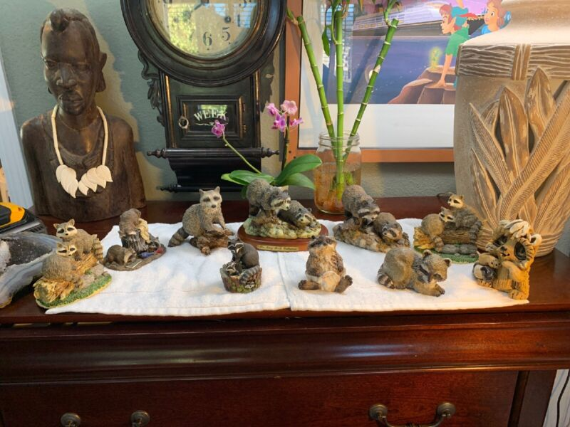 Vintage LOT Of 10 Raccoon Figurines Figures BUNDLE of TEN Rare Pieces COLLECTION