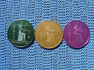 1974 Krewe of ISIS 10g gold, green & purple aluminum Mardi Gras doubloons