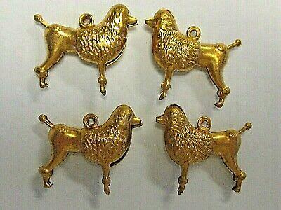 4 pc Retro Poodle Dog 3-D Look Vintage Brass Bracelet Charm Pendant Findings -