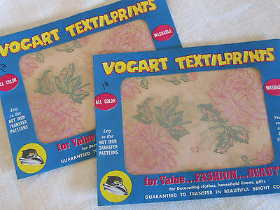 2 Vintage 1950's VOGART TEXTILPRINTS Iron-On Color Transfer Pattern Flowers