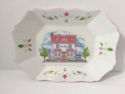 Lenox Village (Lenox Village Porcelain Sweet Shop Candy Tray Platter Plate Pink Floral Cottage)