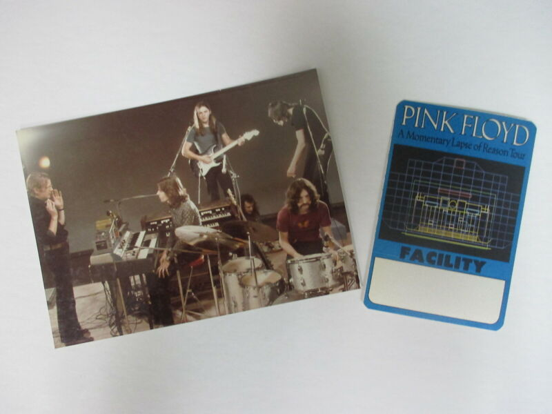Pink Floyd color concert photo 5X7 glossy Pro Shot + Momentary Lapse stage pass!