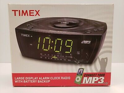 Timex Large Display Alarm Clock Radio MP3 Line-in Auxiliary T227BQ Black NEW