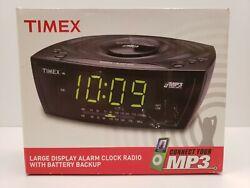 Timex Large Display Alarm Clock Radio MP3 Line-in Auxiliary T227BQ Black NEW