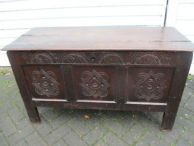 ANTIQUE CARVED OAK COFFER