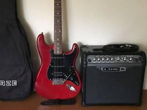 Fender Squier Strat, Line 6 Modelling Amp, Fender Bag, Strap & Lead