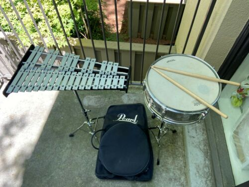 Used Pearl Snare Drum and Bell Set