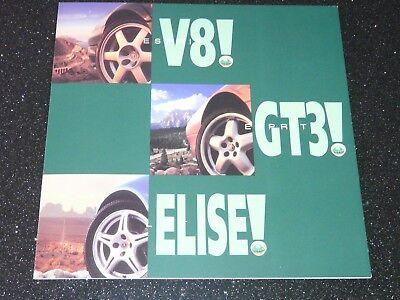 LOTUS RANGE BROCHURE ESPRIT GT3 V8 ELISE  c 1998. ENGLISH TEXT. EXCELLENT COND