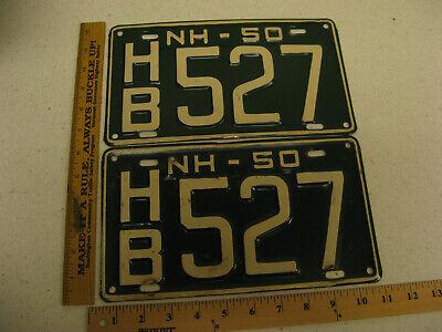 1950 50 NEW HAMPSHIRE NH LICENSE PLATE PAIR SET HB527 HILLSBORO COUNTY - $60.00