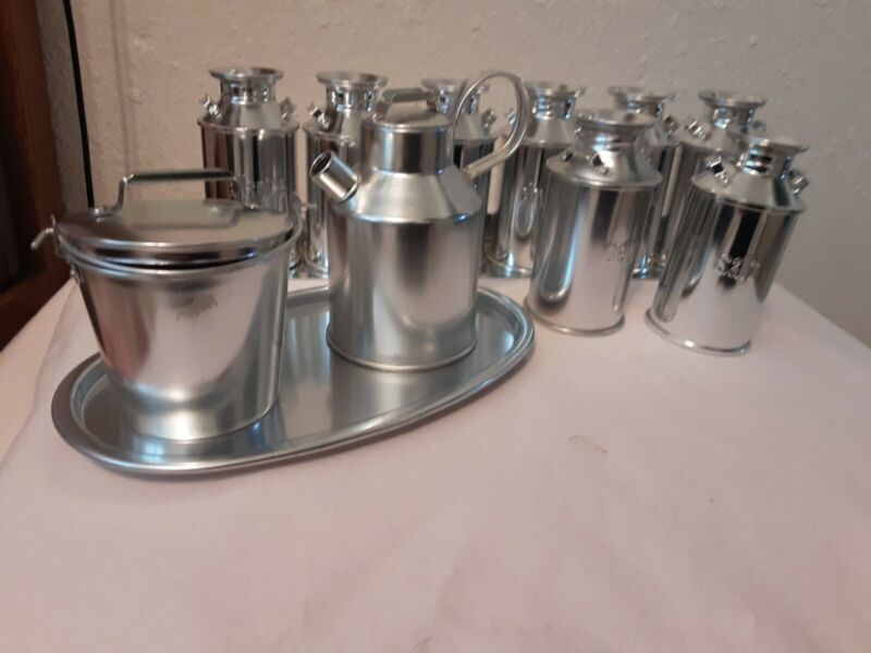 Vintage Aluminum Milk Can Salt Pepper Cream Sugar Spice Shakers EUC Rare