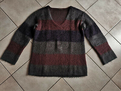 Louis vuitton - pull angora - gris / bordeaux - taille m - authentique