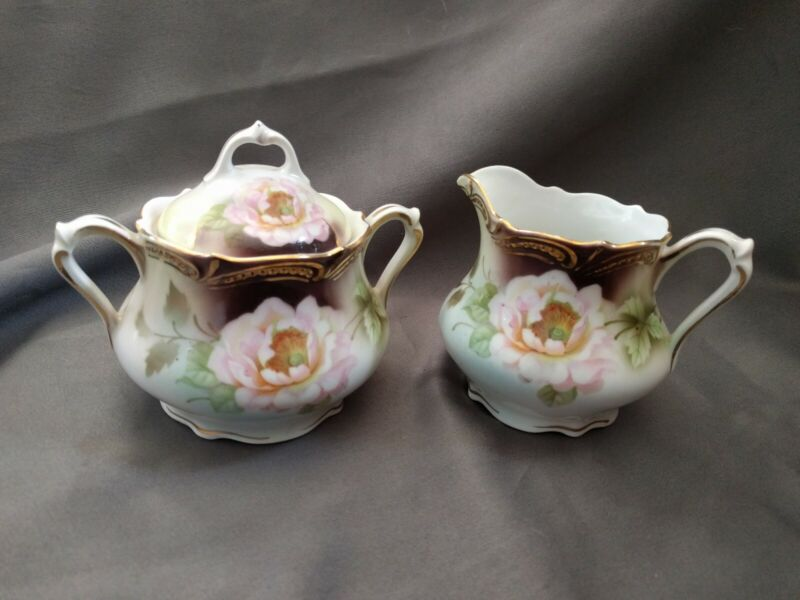 P.K. SILESIA Porcelain Pink Rose Creamer and Sugar Bowl with Lid
