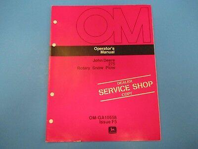 John Deere Operators Manual Om-ga10558 275 Rotary Snow Plow Issue F5 M4994