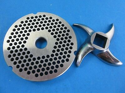 """SET #42 x 1/4"""" (6 mm) Hobart Cabelas Carnivore Biro Meat Grinder Plate & knife for sale  Horseshoe Bay"""
