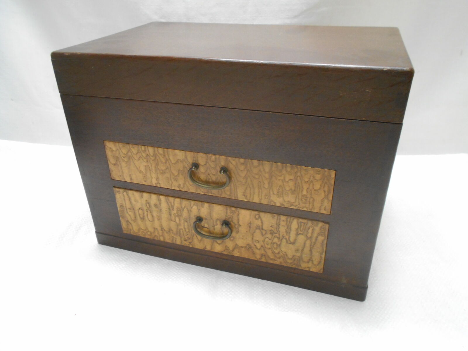 Antique Keyaki and Chestnut Wood Sewing Box Japanese Drawers Circa 1930s #581