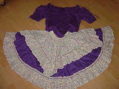 50s SQUARE DANCE OUTFIT für Petticoat lila Blumen 2-teilig Bluse Rock Volant USA ()