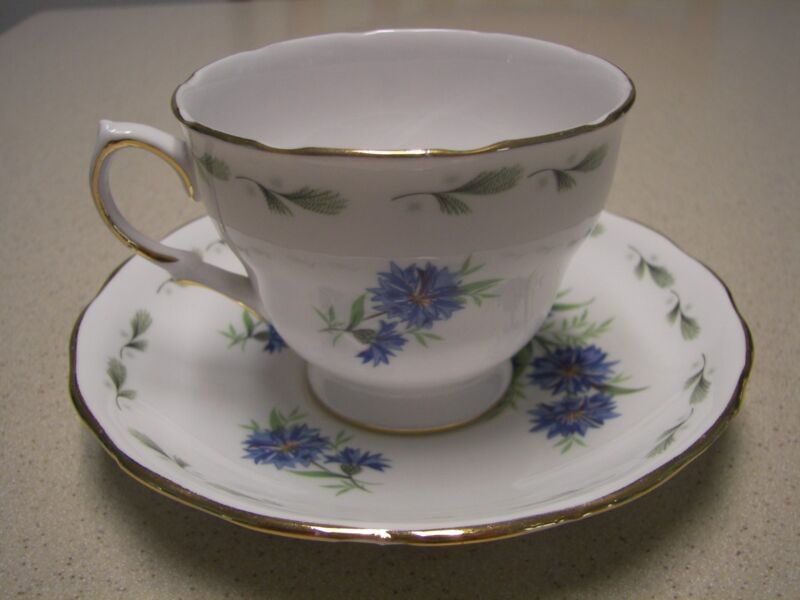 Colclough #8234 China  Cup & Saucer Blue Floral Design-Made in England