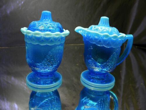 Vintage Westmoreland Glass Blue Opalescent Peacock Cream & Sugar Set