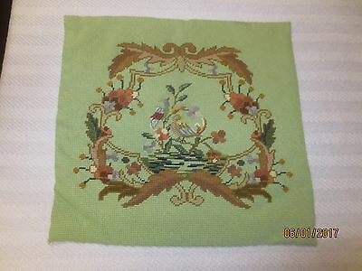 """Ant. GREEN JACOBEAN FLORAL & BIRDS Needlepoint/Petit Point TAPESTRY-16"""" x 15.25"""""""