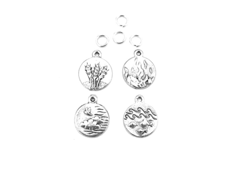 Set of 4 Elements Charms - Land, Fire, Water, Wind    5007/5012/5018/5025