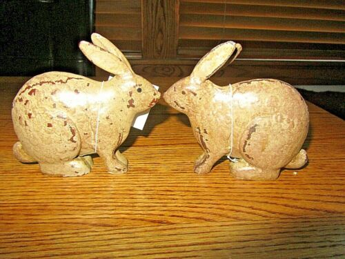 RABBIT BUNNY SET OF 2 PRIMITIVE STYLE BUNNIES-NEW W/ TAGS!