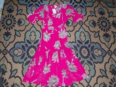 NWT Misa Los Angeles Size Small Pink Floral Gray Dress Dariya