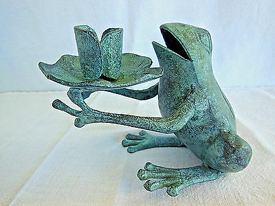 Vintage Brass Bronze Heavy Metal Frog Candle Holder Yard Patio Picnic Table Art