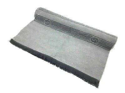 Auth GUCCI Black Gray Wool Scarf
