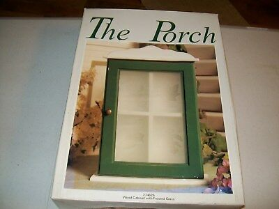 """""""THE PORCH"""" / WOOD CABINET with FROSTED GLASS / distributed by CRACKER BARREL"""