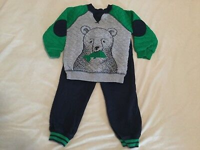 Little Me, 2 Piece Outfit, Navy Blue, Green and Gray Shirt with Bear, Size 3T