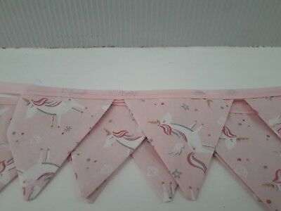 Home Made Double-sided pink Unicorn Fabric Bunting using 100% cotton