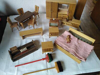 puppenstube ; Möbel ; Wohnzimmer ; Küche ; Schlafzimmer;Holz