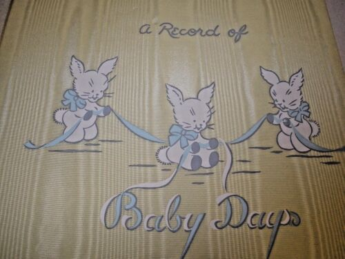 NEW Vintage Gibson A Record of Baby Days Record Book Yellow Rayon