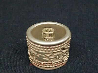 Chinese Tibet Silver Carvings Flower Bistratal Rotatable Thumb Ring or Pendant