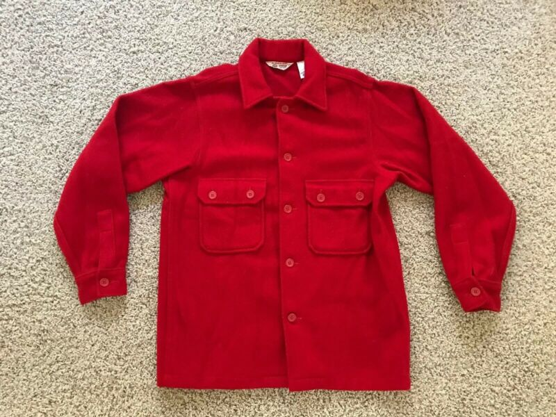 Men's VTG Boy Scouts Of America BSA Official Red Wool Jacket Coat Size 40/L USA