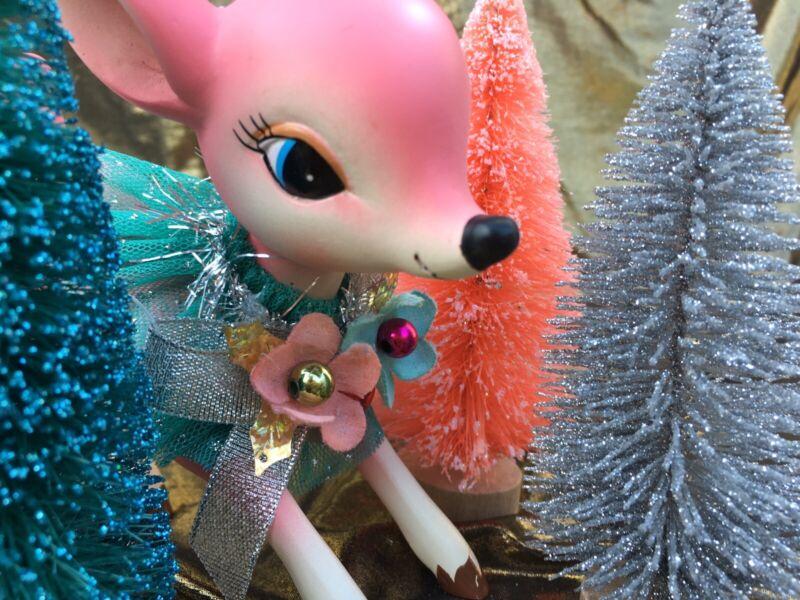 New Retro Christmas Hobby Lobby Vintage Inspired ✨PINK DEER✨NWT🌲same Day Ship ✨