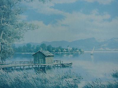 Tegernsee Bayern Gemälde 88,5 x 61 cm Öldruck Landschaftsmalerei