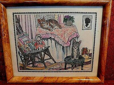 Jacquie Vaux hand painted vintage framed wall art cat baby gift free clock
