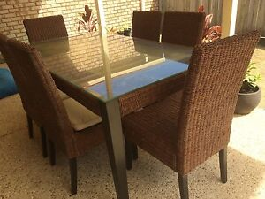 Wicker/Glass 7pc Outdoor Dining Set North Lakes Pine Rivers Area Preview