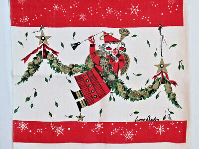 50s VTG CHRISTMAS LINEN KITCHEN TOWEL Francis Dearden Flying Angel Santa 15X27""