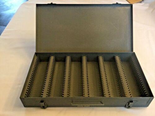 """Vintage Brumberger Brooklyn NY metal 2x2"""" Slide Holder Storage Tray 150 slots"""