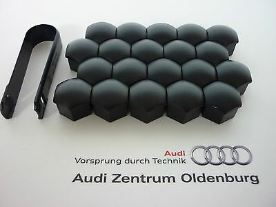 Audi Radschraubenkappen (20 Stk.) inkl.Abzieher,Kappen für Radschrauben, schwarz