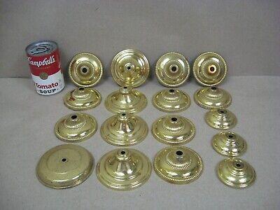 Vtg Brass Oil Electric Lamp Chandelier Parts Lot Round Caps Canopies (L2)