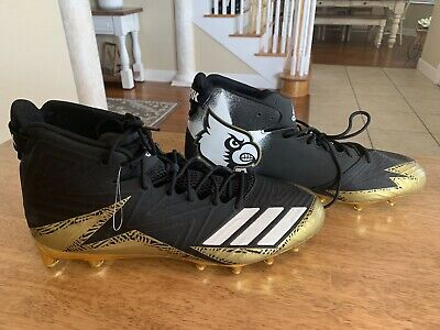 779cb4373 NEW Adidas Louisville Cardinals Freak Adizero Black Gold Football Cleats SZ  12.5