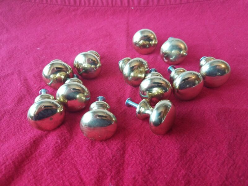 Lot Of 12 Heavy Solid Brass Drawer Pulls/knobs